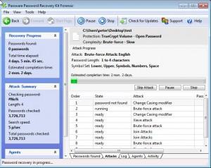 Passware working screen