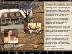 Johnny Winter app book screen