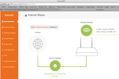 Internet Status portal page